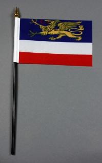 Kleine Tischflagge Rostock 10x15 cm optional mit Tischfähnchenständer