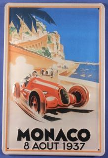 Blechschild Monaco Autorennen 1937 Rennwagen Auto Motorrad Schild Werbeschild...