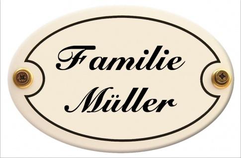 Türschild oval mit Wunschtext 15 x 10 cm wetterfestes Emaille verschiedene Fa...