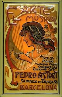 Blechschild Arte Musical Plakat Barcelona Werbeschild Schild Nostalgieschild
