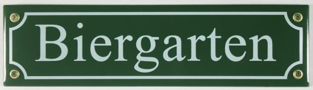 Strassenschild Biergarten grün 30x8 cm Bier Garten Emaille Schild Emaile Ande...