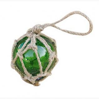 Fischerkugel grün ca. 5 cm im Tauwerk Netz Glaskugel Glas maritim Kugel