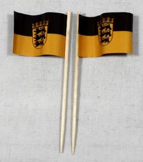Party-Picker Flagge Baden Württemberg Papierfähnchen in Spitzenqualität 50 St...