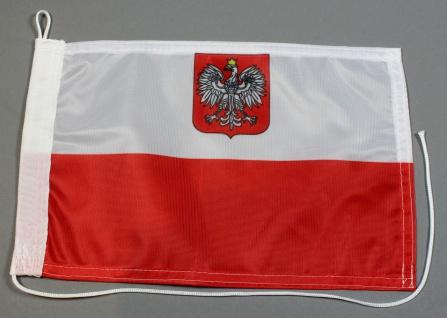 Bootsflagge : Polen mit Adler Wappen 30x20 cm Motorradflagge