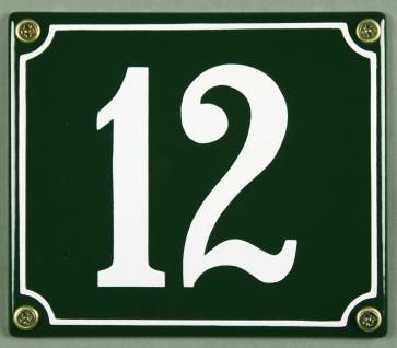 Hausnummernschild 12 grün 12x14 cm sofort lieferbar Schild Emaille Hausnummer...