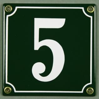 Hausnummernschild 5 grün 12x12 cm sofort lieferbar Schild Emaille Hausnummer ...