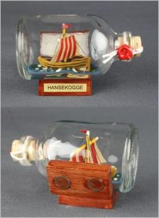 Buddelschiff Hansekogge 7, 2x4, 5 cm Kühlschrankmagnet mit 2 Stück 10x3 mm Neod...