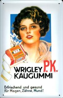 Blechschild Wrigley PK Kaugummi Chewing Gum retro Werbung Schild