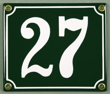 Hausnummernschild 27 grün 12x14 cm sofort lieferbar Schild Emaille Hausnummer...