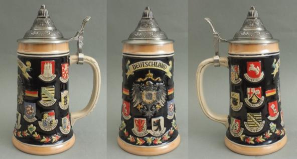 Bierkrug Deutschland Adler und Bundesländer Wappen mit Zinndeckel Bierhumpen ...