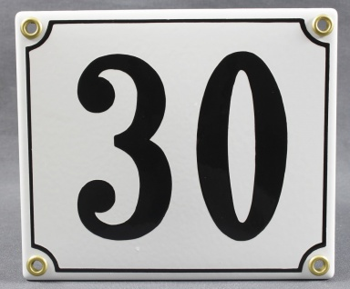 Hausnummernschild 30 weiß 12x14 cm sofort lieferbar Schild Emaille Hausnummer...