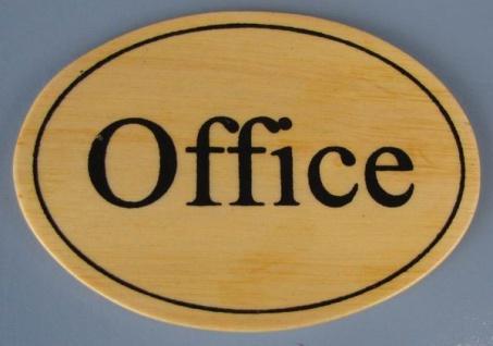 Ovales Holz - Türschild Office 7x10 cm helles Holzschild