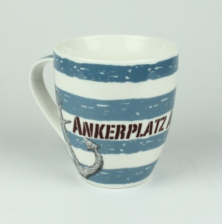 Maritimer Becher Ankerplatz Anker gestreift Tasse Kaffee Becher Andenken weiß...