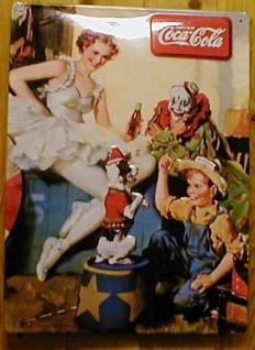 Blechschild Coca Cola Coke Zirkus Clown retro Schild Werbeschild Nostalgieschild