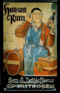 Blechschild Hansen Rum Dethleffsen Spirituosen retro Schild Nostalgie Werbung