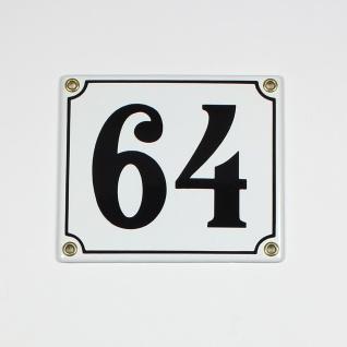 64 weiss Clarendon 14x12 cm sofort lieferbar 2-stellig Schild Emaille Hausnummer