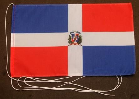 Tischflagge Dominikanische Republik mit Wappen 25x15 cm optional mit Holz- od...