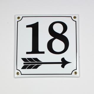 18 Pfeil rechts 20x20 cm sofort lieferbar Schild Emaille Hausnummer