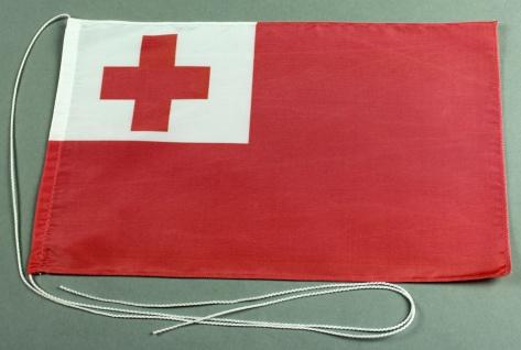 Tischflagge Tonga 25x15 cm optional mit Holz- oder Chromständer Tischfahne Ti...