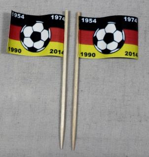 Party-Picker Flagge Deutschland 4x Fußball Weltmeister Papierfähnchen in Spit...
