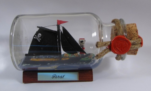Piratenschiff Pirat rundes Gewürzglas 0, 25 Liter Buddelschiff Flaschenschiff
