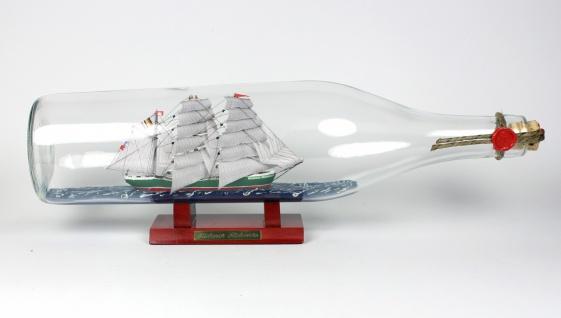 Rickmer Rickmers 3 Liter runde Asbach - Flasche Buddelschiff Flaschenschiff