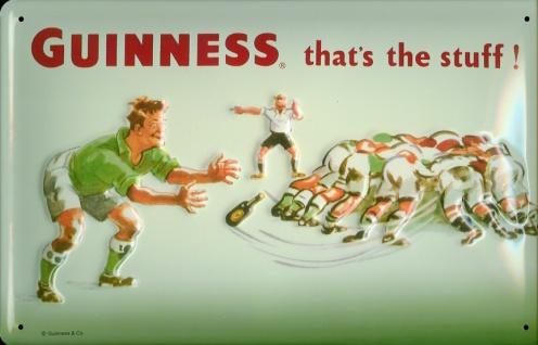 Blechschild Guinness Bier Rugby Sport Beer Schild Werbeschild