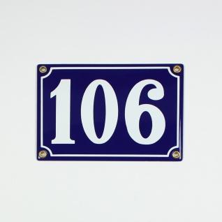 106 blau Clarendon 18x12 cm sofort lieferbar 3-stellig Schild Emaille Hausnummer