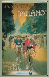 Blechschild Radrennen Milano Fahrrad Mailand Schild Nostalgieschild