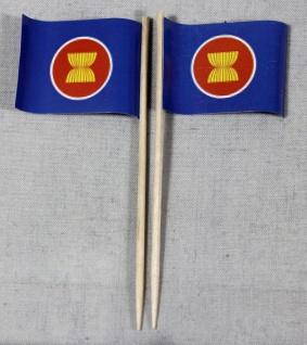 Party-Picker Flagge ASEAN Papierfähnchen in Spitzenqualität 50 Stück Beutel