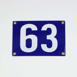 63 blau ohne Rahmen Blockschrift 16x11 cm sofort lieferbar 2-stellig Schild E...