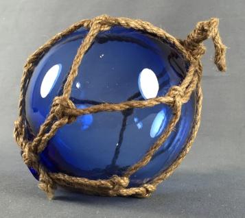 Deko Fischerkugel aus Glas blau 17 cm Tauwerk Netz