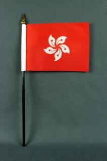 Kleine Tischflagge Hongkong 10x15 cm optional mit Tischfähnchenständer