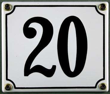 Hausnummernschild 20 weiß 12x14 cm sofort lieferbar Schild Emaille Hausnummer...