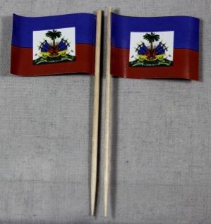 Party-Picker Flagge Haiti Papierfähnchen in Spitzenqualität 50 Stück Beutel