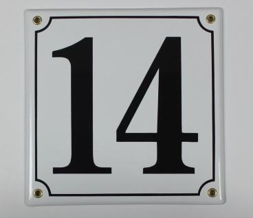 14 weiss 20x20 cm sofort lieferbar Schild Emaille Hausnummer