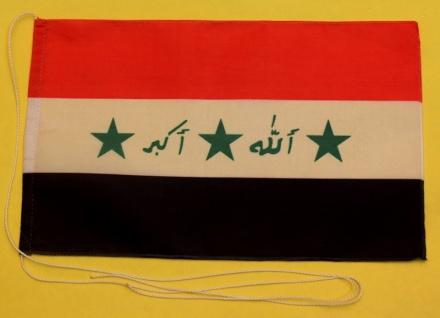 Tischflagge Irak 25x15 cm optional mit Holz- oder Chromständer Tischfahne Tis...