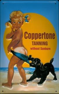 Blechschild Coppertone Tanning Kind mit Hund am Strand Sonnencreme Schild ret...