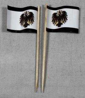 Party-Picker Flagge Preußen mit Adler Papierfähnchen in Spitzenqualität 50 St...