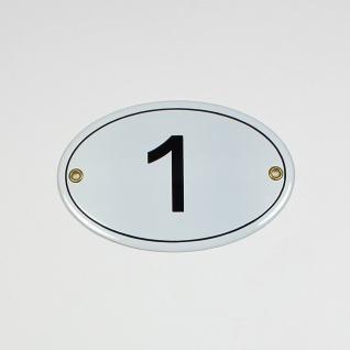 1 weiß oval 15x10 cm sofort lieferbar Schild Emaille Hausnummer