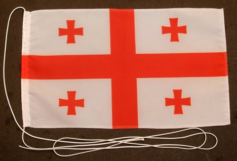 Tischflagge Georgien (neu) 25x15 cm optional mit Holz- oder Chromständer Tisc...
