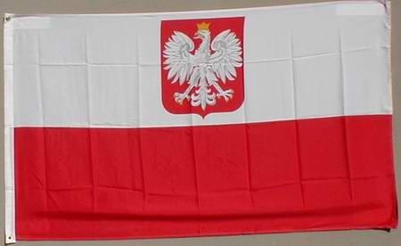 Flagge Fahne : Polen mit Adler Wappen Polenflagge Adlerwappen