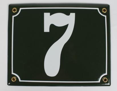7 Dunkelgrün 20x16 cm sofort lieferbar Schild Emaille Hausnummer