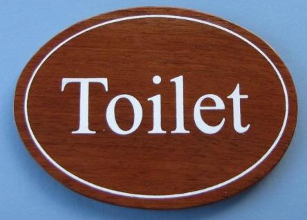 Ovales Holz - Türschild Toilet 7x10 cm dunkles Holzschild Toilette