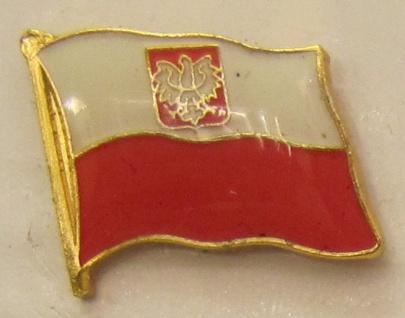 Pin Anstecker Flagge Fahne Polen mit Wappen Adler
