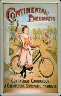 Blechschild Continental Pneumatic Fahrrad Reifen Frau Schild Nostalgieschild
