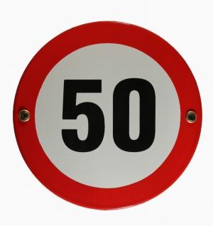 Emaille Schild Tempo 50 Verkehrszeichen Verkehrsschild Geburtstagsschild Emai...