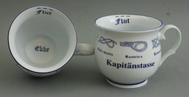 Kapitänstasse mit Seemannsknoten bauchig Kaffeebecher Kaffeetasse Kaffee Pott - Vorschau