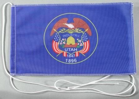 Tischflagge Utah USA Bundesstaat US State 25x15 cm optional mit Holz- oder Ch...