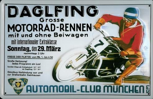 Blechschild Daglfing Motorrad Rennen Nostalgieschild Schild